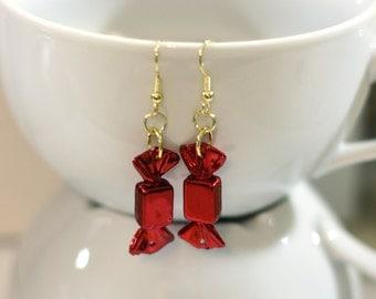 Red Metallic Christmas Candy Repurposed Christmas Ornament Earrings - Christmas Earrings - Charm Earrings