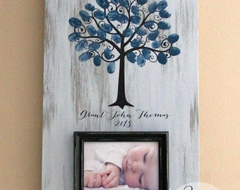 Welcome To The World Little One, Baby Shower Fingerprint Tree Picture Frame, Guest Book Alternative, Baby Shower Keepsake
