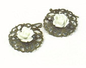 White Resin Rose on Brass Filigree Vintage Style Floral Earrings