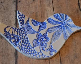 blue ceramic spoon rest, trinket dish, ready to ship