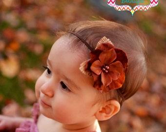 Brown Flower Headband, Baby Headbands, Shabby Baby Girl Headband, Girls Headband, Newborn Headband, Thanksgiving Bow, Brown Headband