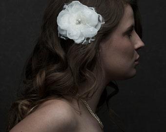 Bridal Fascinator, Bridal Hair Clip, Hair Piece , Lace and Rhinestone Hair Accessories, Wedding Hair Piece, Bridal Flower- Josie