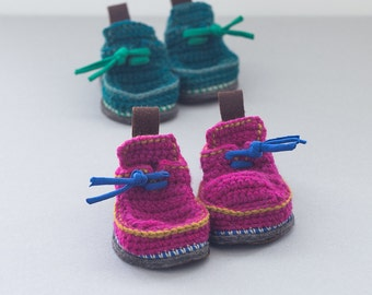 Babies Boot-laced Booties Made for Walking  in fuchsia with mustard yellow and navy blue - Babies U.S. sizes 3-7 EUR 16-24