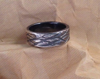 Wire patterned and oxidized sterling silver ring