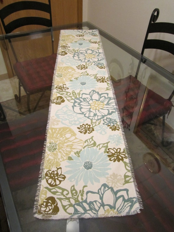 Table Runner Teal Aqua Turquoise Olive Sea Foam Green Floral