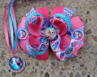 Large Frozen Hair Bow Pink and blue Hair bow Elsa Hair Bow Princess Elsa Hair Bow Elsa rhinestone necklace