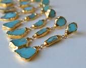 TURQUOISE DANGLES /// Gemstone Gold Dipped Earrings