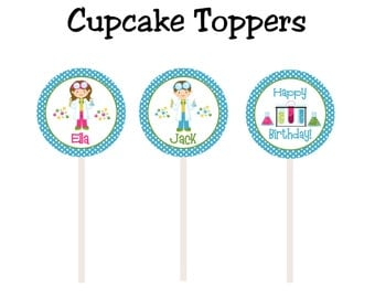 science birthday party cupcake toppers -- science party