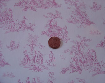 Dollhouse pink and white toile wallpaper miniature 1:12 scale