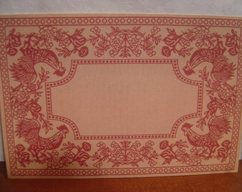 Dollhouse floor cloth rooster peachy colored miniature rug 1:12 scale