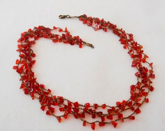 Beautiful crocheted  Necklace, Four Layers Of Red Glass Chips Beads, Gift for Women, Holidays Gift For Wife, Red Necklace, Gift Idea.