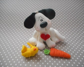 Polymer Clay Dog with His Chick and Carrot - Figurine