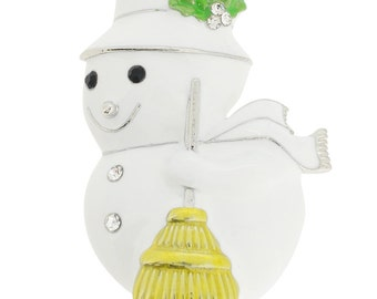 White Christmas Snowman Pin Brooch 1001552