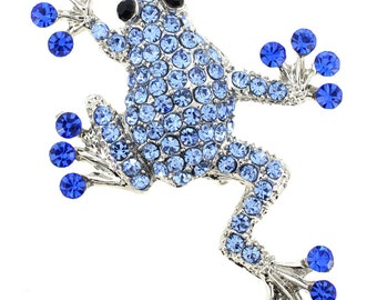 Sapphire Blue Frog Pin Brooch 1001802