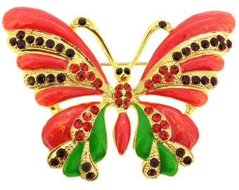 Red Enamel Butterfly Pin Brooch 1002132