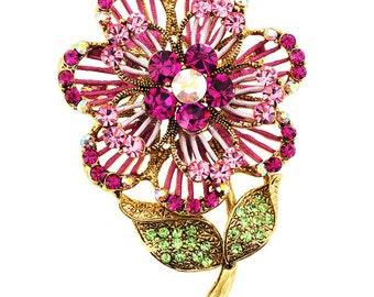 Pink Swarovski Crystal Flower Pin Brooch And Pendant 1003171