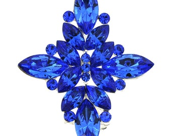 Sapphire Crystal Flower Wedding Pin and Pendant 1003921
