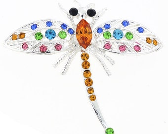 Multicolor Dragonfly Crystal Pin Brooch 1003952
