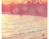 Beach photography, Laguna Beach photograph, California seaside, palm trees, surfers, sunset, orange pink, summer vacation, OC art
