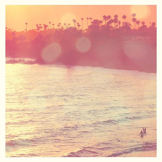 Beach photography, Laguna Beach photograph, California seaside, palm trees, surfers, sunset, orange pink, summer vacation, OC art