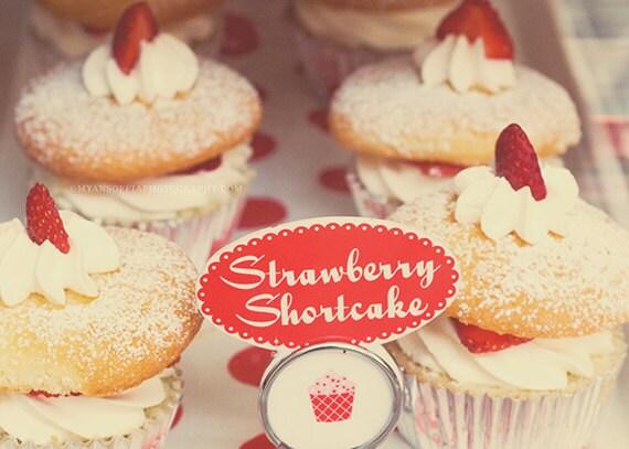 cupcake print, food photography, cupcake photo, strawberry shortcake art print, red kitchen decor, bakery art cafe print, kids room wall art