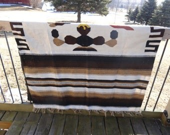 Vintage Mexican Hippie Blanket Multi Colors Browns