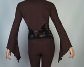 Brown Cotton Lycra Fairy Sleeved Bolero Shrug, S/M, Cotton Lycra, Small/Medium, Ladies, Psy Trance, Tribal, Bell Sleeve, LIMITED EDITION
