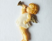 Vintage Christmas ornament angel ornament playing a horn ornament plastic ornament