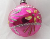 Vintage glass ornament ball ornament Christmas ornament pink ornament floral ornament hand painted ornament glitter ornament Poland ornament