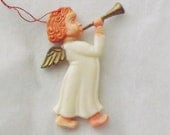 Vintage Christmas ornament angel ornament angel with horn plastic ornament