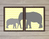 Elephant Mommy & Baby - Nursery Wall Art Printable - Set of 2 - Grey Yellow Chevron 8x10 - Instant Download Baby Kids Child Room Home Decor