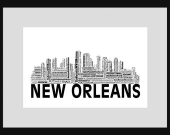New Orleans Skyline 2 Word Art Typography Typographical Print Poster