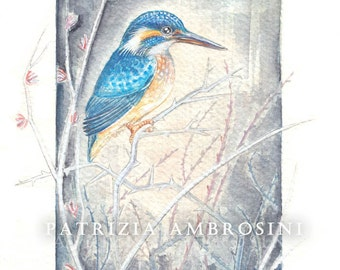 Original 7x9 Watercolour Kingfisher among the brambles ......NOT A PRINT ..Original Painting blue