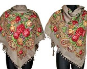 Wool Russian Style Warm Scarf Shawl best of Winter Traditional Folk Accessory