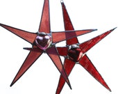 Mercury Glass Heart star- 9 inches- choose pink or red