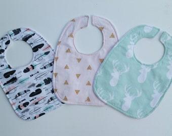 Baby Bib  - Baby Bib Gift Set - Pink Mint Gold Drool Bib - Toddler Drool Bib - Tribal Baby Bib - Baby Shower Gift - Mint Baby  Bib