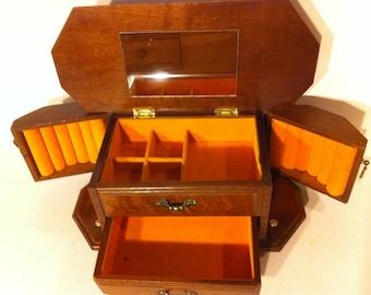 Vintage Wooden Jewelry Box