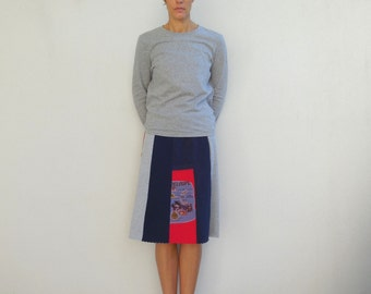 Women's Skirt Womens T-Shirt Skirt Womens Clothing White Red Navy Blue Gray Handmade Cotton Knee Length Skirt Summer Time ohzie