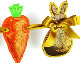 """Bunny and Carrot Easter Banner In The Hoop Project Machine Embroidery Designs Applique Patterns in 7 sizes 4"""", 5"""", 6"""", 7"""", 8"""""""