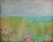 Clearance Sale, abstract landscape of path to the ocean, flowers bloom, in this dreamy, 20 X 16, original by Aquagirl Art