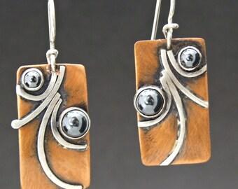 Copper, sterling silver, mixed metals, hematite, Regina Marie Designs, earrings
