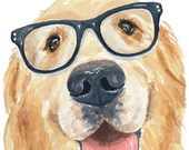 Golden Retriever PRINT - Watercolor Painting, Dog Art, Nerdy Dog, Animal Watercolour