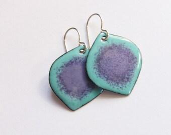 Colorful enamel dangle earrings Unique enamel jewelry Aqua and purple leaf drop earrings