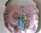 Smurfette Purse or Bag - Smurfs Purse  - Shoulder Bag Style - Upcycled from vintage fabric