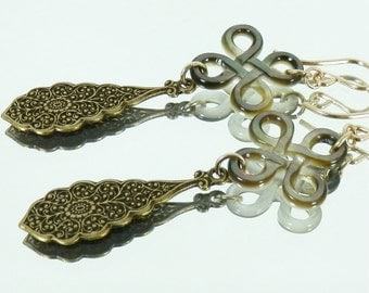 Vintage Style Drops, Carved Mother of Pearl Knot and Gold Filled Earrings
