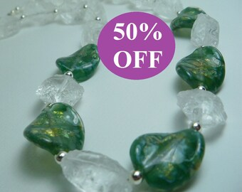 50% OFF - Icey Quartz and Green Handmade Glass Beads Necklace