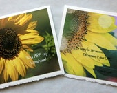 Sunflower Cards set of 2 - paper goods, fine art cards, blank cards, sunflower, yellow flower, inspirational quotes, all occasion cards