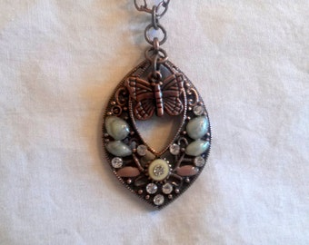 Copper Color Beaded Pendant with Butterfly Charm Necklace