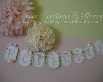 Boutique Custom Listing:  Birthday Banner to Match Tea Party Invitations- for H.R.