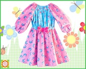 Flared Peasant DRESS PATTERN for Girls, 6m-12y + Free Mother-Daughter Apron Pattern, Children's Sewing Pattern Toddler,Kids, PDF  Pattern